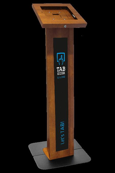 Metalowy stojak na tablet imitujący drewno Tabkiosk stand classic