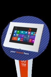 Szary stojak na tablet Tabkiosk stand promotion v2 z panelem i kołnierzem reklamowym