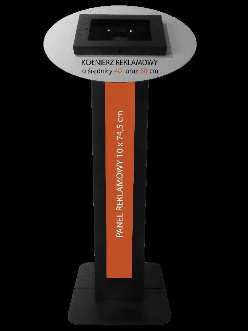 Czarny stojak na tablet Tabkiosk stand promotion v2 z panelem i kołnierzem reklamowym