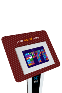Biały stojak na tablet Tabkiosk stand promotion v3 z panelem i kołnierzem reklamowym