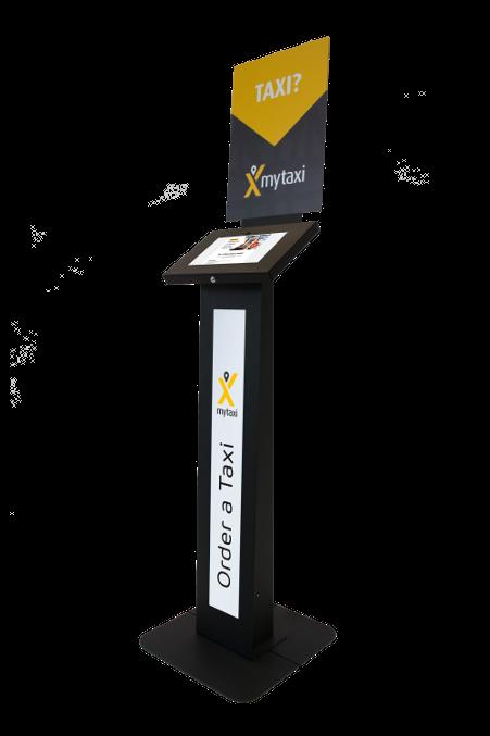 Czarny stojak na tablet Tabkiosk stand promotion v1 z panelem i kołnierzem reklamowym