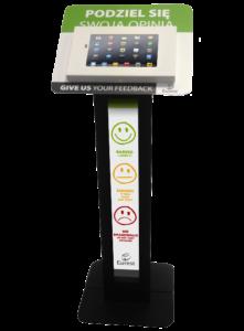 Czarny stojak na tablet Tabkiosk stand promotion v3 z panelem i kołnierzem reklamowym