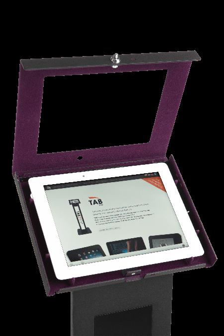 Czarny stojak na tablet Tabkiosk stand z panelem LED